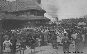 Image for 215th Battalion, C.E.F. at the Brantford Train Station